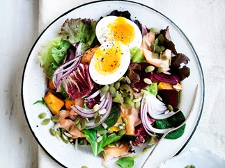 Hot-smoked salmon and egg salad