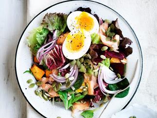 Hot-smoked salmon and egg salad