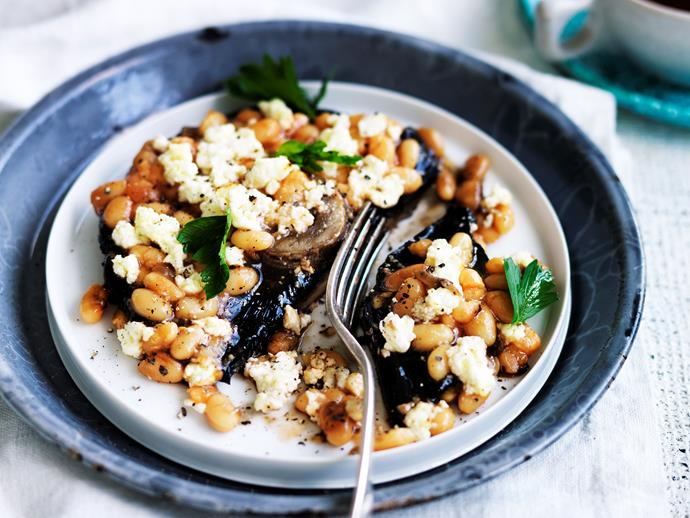 """Breakfast worth waking up for - this hearty [baked bean and ricotta-stuffed mushroom](https://www.womensweeklyfood.com.au/recipes/baked-bean-and-ricotta-stuffed-mushroom-29056