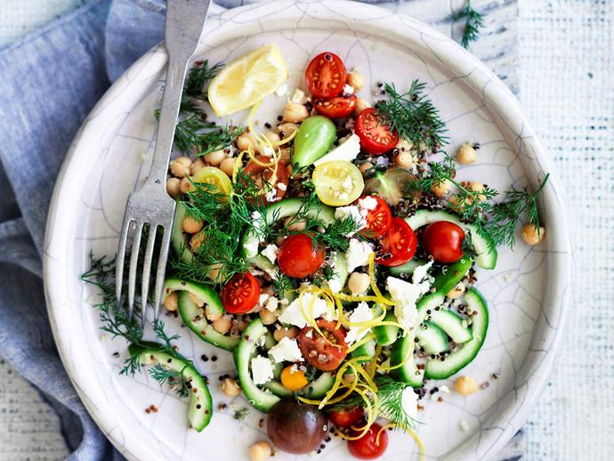 "**[Lemon and dill chickpea salad:](https://www.womensweeklyfood.com.au/recipes/lemon-and-dill-chickpea-salad-29059|target=""_blank"")** Light and fresh, this colourful salad is quick, tasty and a winner for the whole family."