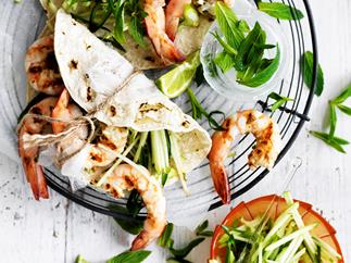Chilli prawns with green apple salsa