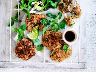 Thai crab fritters with cabbage salad