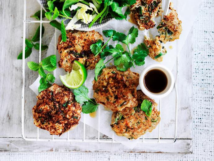 """**[Thai crab fritters with cabbage salad](https://www.womensweeklyfood.com.au/recipes/thai-crab-fritters-with-cabbage-salad-29063