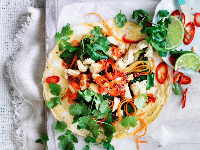 "Get inventive tonight with this fresh and tasty [Asian inspired tofu omelette wrap](https://www.womensweeklyfood.com.au/recipes/asian-tofu-omelette-wrap-29064|target=""_blank"")! Full of delicious authentic flavour, this dish will have you coming back for more. Suitable for the 2-Day Fast Diet."