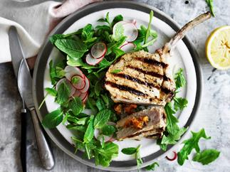 Apricot and mint stuffed pork with rocket, mint and radish salad