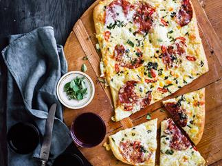 Four-cheese & sopressa pizza with chilli
