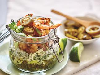 Spicy prawn jar with jalapeno salsa