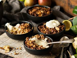Crunchy feijoa and apple crumbles