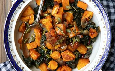 Braised silverbeet topped with bacon and rosemary roasted pumpkin