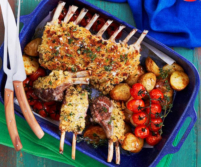 Lamb rack with sourdough, lemon and herb crust