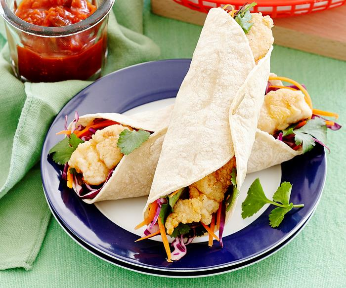 Grilled fish and coleslaw tacos