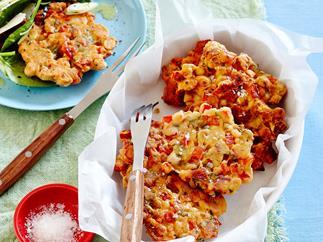 Salami and capsicum fritters
