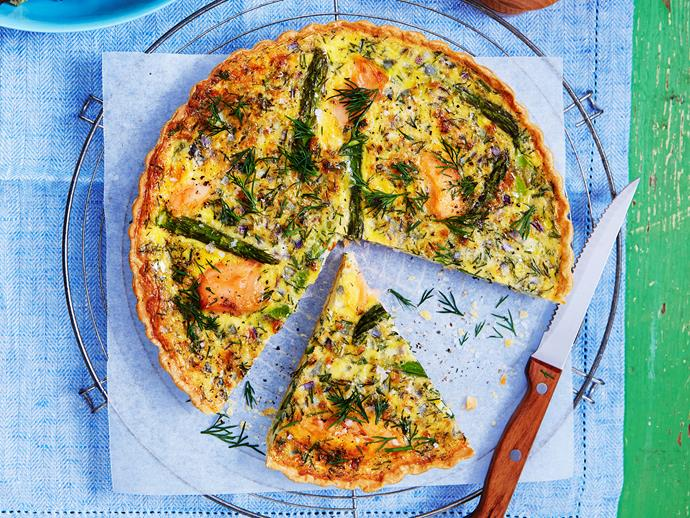 "Tasty, wholesome [salmon and asparagus quiche](https://www.womensweeklyfood.com.au/recipes/salmon-and-asparagus-quiche-29099|target=""_blank"") is the perfect idea for dinner tonight. Full of rich flavour and nutritious ingredients."