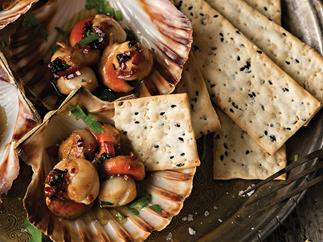 Hot grilled scallops