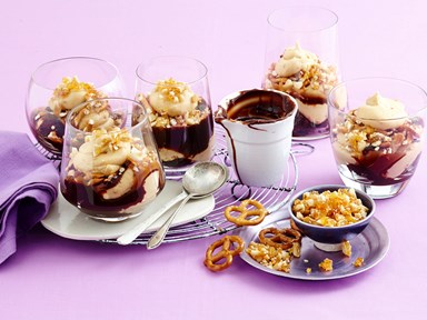 Salted peanut butter chocolate trifle