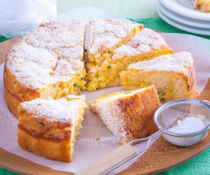Passionfruit curd teacake