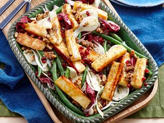 Honey glazed haloumi salad