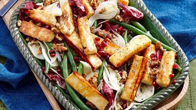 Honey glazed haloumi salad