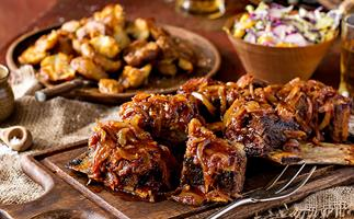 Sticky beef short ribs, smashed spuds and harvest slaw