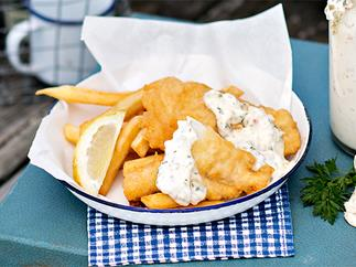 Fried fish and fast chips with garlic seasoning
