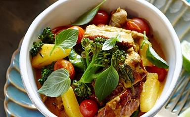 Yellow coconut duck curry