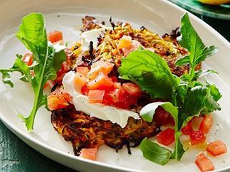 Kumara and zucchini fritters