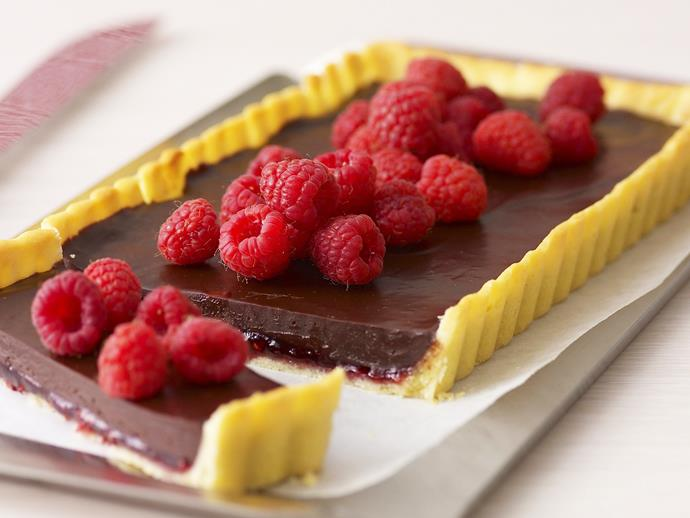 "Indulge your sweet tooth with this divine [chocolate and raspberry tart](https://www.womensweeklyfood.com.au/recipes/chocolate-raspberry-tart-10513|target=""_blank""). Filled with an oozy jam centre, one slice will send you to dessert heaven..."