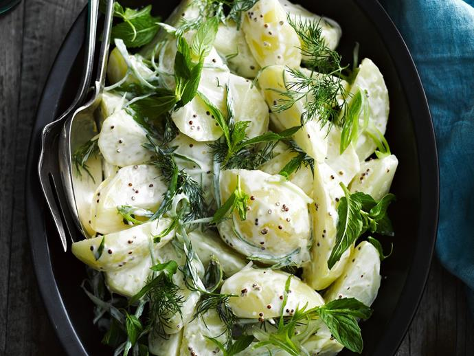 "**Perfect potato salad** <br><br> Give this classic European salad a try with this easy recipe and enjoy the fresh pieces of parsley, mint and potato smothered in rich mayonnaise. <br><br> [**Read the full recipe here**](https://www.womensweeklyfood.com.au/recipes/perfect-potato-salad-27465|target=""_blank"")"