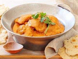 Slow-cooked butter chicken and tomato