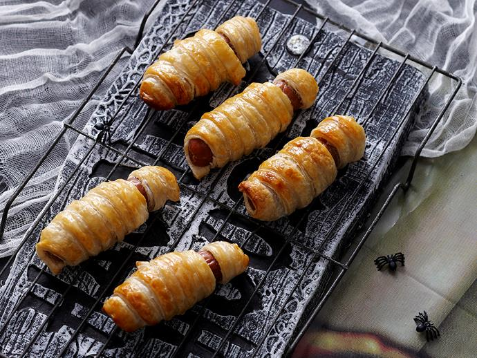 "Bandaged mummies, recipe via our sister site, [*Women's Weekly Food*](https://www.womensweeklyfood.com.au/recipes/bandaged-mummies-29130|target=""_blank"")."