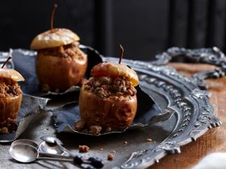 Halloween rotten apples with sweet biscuit filling