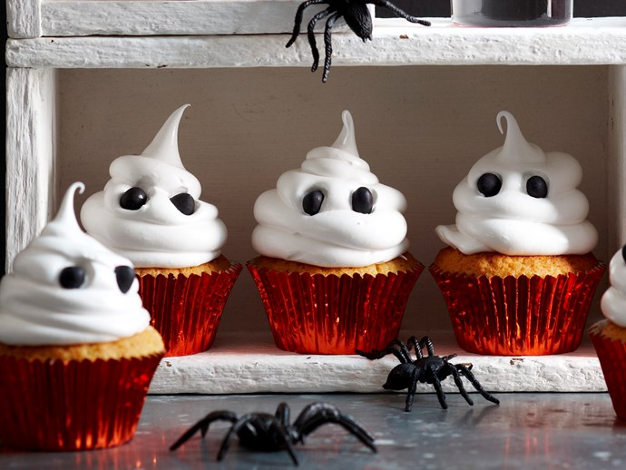 "Ghost cakes, recipe via our sister site, [*Women's Weekly Food*](https://www.womensweeklyfood.com.au/recipes/halloween-white-chocolate-ghost-cupcakes-1738|target=""_blank"")"
