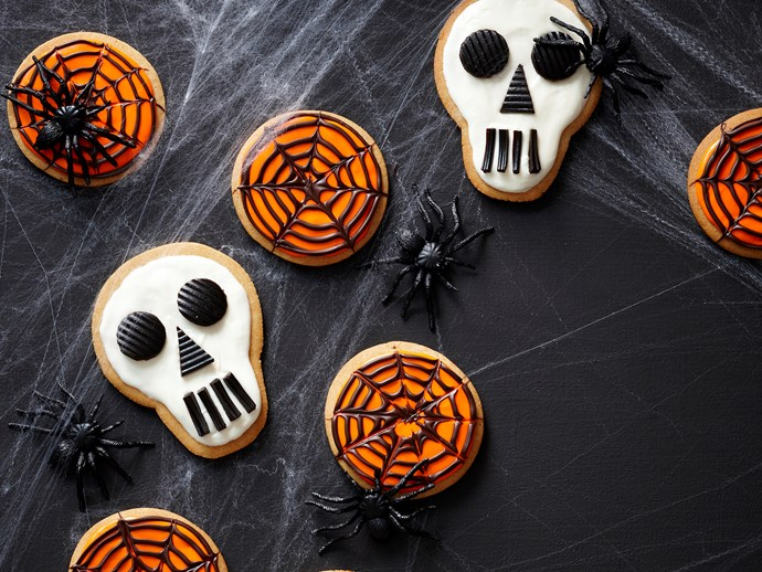 "Skull and cobweb cookies, recipe via our sister site, [*Women's Weekly Food*](http://www.foodtolove.com.au/recipes/skull-and-cobweb-cookies-27134|target=""_blank"")."