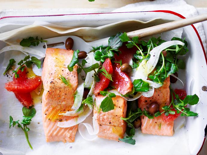 "**[Baked ocean trout with ruby grapefruit salad](https://www.womensweeklyfood.com.au/recipes/baked-ocean-trout-with-ruby-grapefruit-salad-29156|target=""_blank"")**  Tender moist baked ocean trout with a fresh, zesty ruby grapefruit salad - a delicious and nourishing dish, perfect for dinner tonight!"