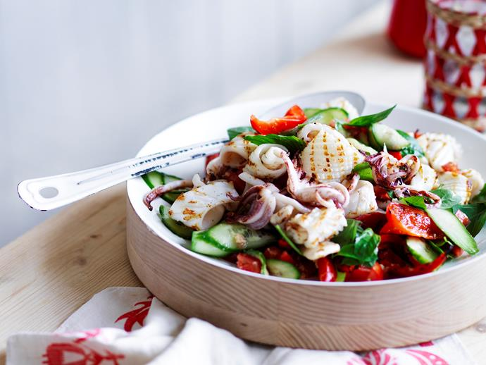"""Deliciously fresh [barbecued squid salad](https://www.womensweeklyfood.com.au/recipes/barbecued-squid-salad-29157 target=""""_blank""""), this dish is perfect for spring entertaining."""
