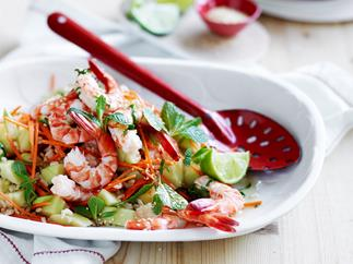 Prawn and brown rice salad