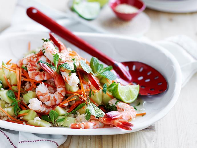 "**[Prawn and brown rice salad](https://www.womensweeklyfood.com.au/recipes/prawn-and-brown-rice-salad-29158|target=""_blank"")**  Healthy and delicious dinner ideas have never been easier! Enjoy this tasty, wholesome prawn and brown rice salad, full of flavour the whole family will love!"