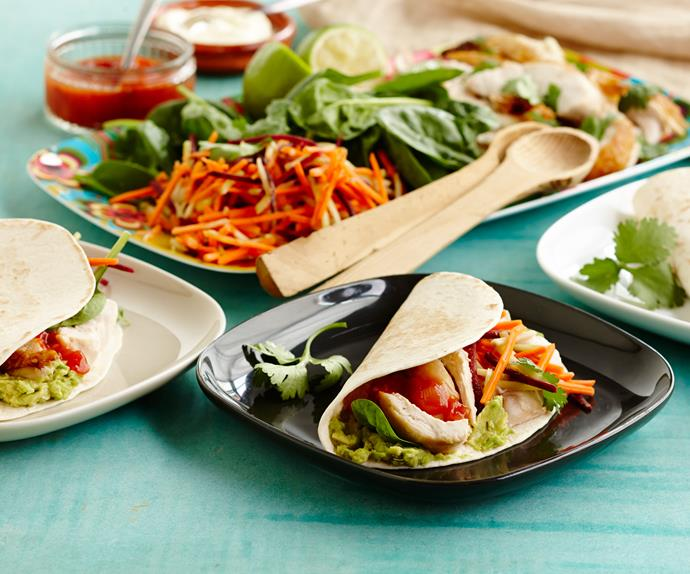 Quick & easy 10 minute soft tacos with barbecue chicken and slaw