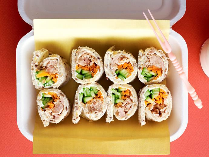 "These delicious [tuna sushi style sandwiches](https://www.womensweeklyfood.com.au/recipes/tuna-sushi-sandwiches-24989|target=""_blank"") are perfect for a kids' lunchbox or light snack with drinks."
