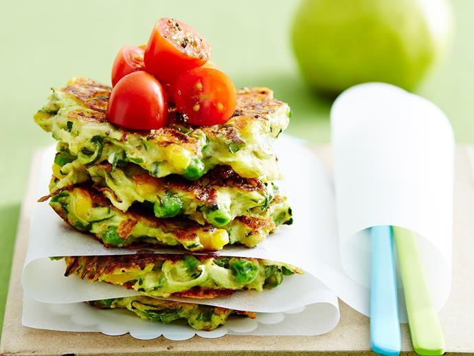 "**[Zucchini and cheese fritters](https://www.womensweeklyfood.com.au/recipes/zucchini-and-cheese-fritters-29161|target=""_blank"")**  These hot and crunchy fritters make for the best snacks. Serve them with your favourite dip for a delicious lunch-box treat."