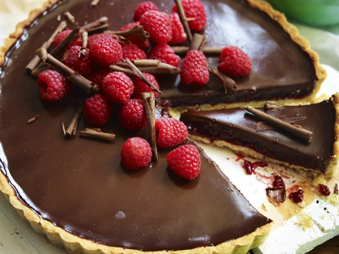 """**[Raspberry, hazelnut and chocolate tart](https://www.womensweeklyfood.com.au/recipes/raspberry-hazelnut-and-chocolate-tart-26784