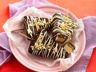 Frozen peanut butter cheesecake pops