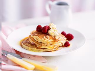 Raspberry hotcakes  with honeycomb butter