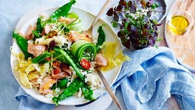 Hot-smoked salmon with cauliflower 'fried rice' salad