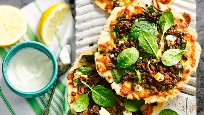 Spicy lamb, spinach and feta pizzas