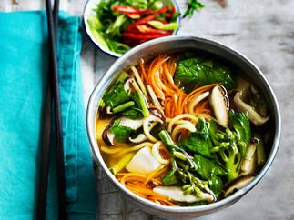 Chinese noodle, tofu and vegetable soup