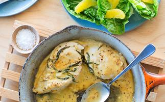 Chicken with tarragon and white wine sauce