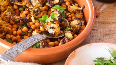 Roasted cauliflower and chickpeas