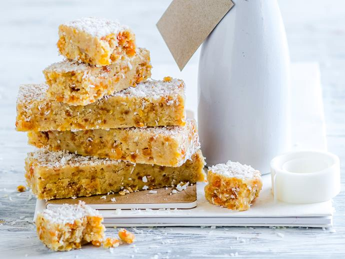 "[Apricot and coconut snack bars recipe.](https://www.womensweeklyfood.com.au/recipes/apricot-coconut-bars-29198|target=""_blank"")"