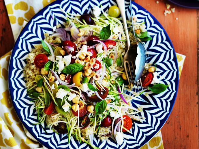 "**[Quinoa, zucchini and feta salad](http://www.womensweeklyfood.com.au/recipes/quinoa-zucchini-and-fetta-salad-29209|target=""_blank""):** Fluffy quinoa comes to life with this herby zucchini and feta dish, with toasted hazelnuts adding crunch and heirloom tomatoes bringing the sweetness and flavour."
